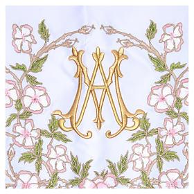 Mantel de altar 165x300 cm flores rosas y Santísimo Nombre de María s2