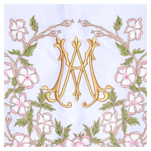 Mantel de altar 165x300 cm flores rosas y Santísimo Nombre de María 2