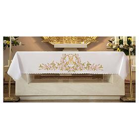 Nappes d'autel: Nappe pour autel 165x300 cm fleurs roses et initiales mariales