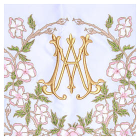 Altar Frontal 165x300cm pink flowers and Marian symbol s2