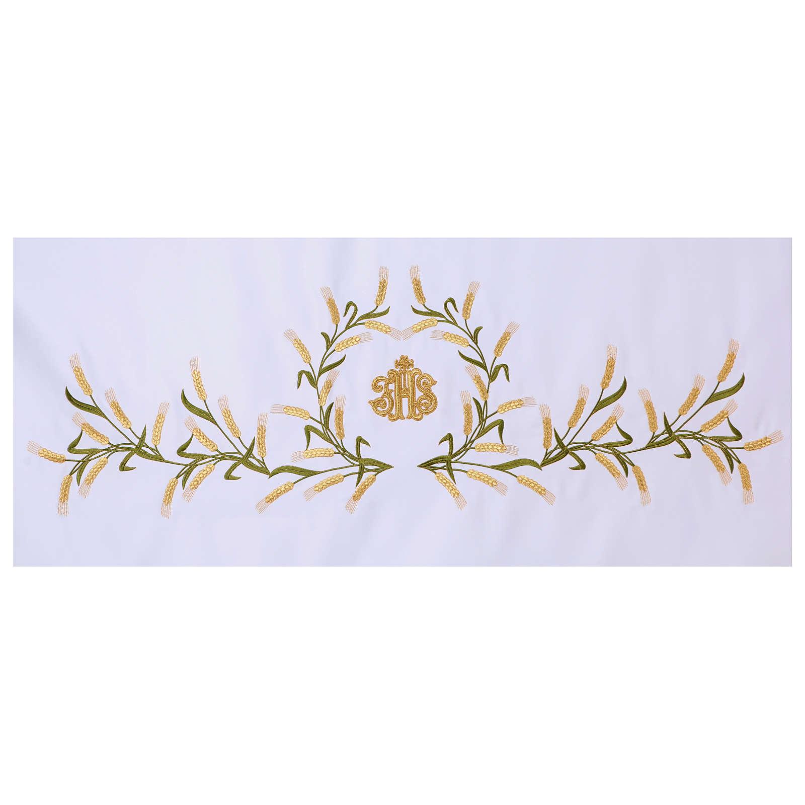 Tovaglia per altare 165x300 cm spighe di grano verdi e dorate 4