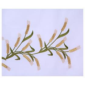 Tovaglia per altare 165x300 cm spighe di grano verdi e dorate s4
