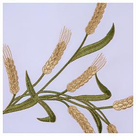 Tovaglia per altare 165x300 cm spighe di grano verdi e dorate s5