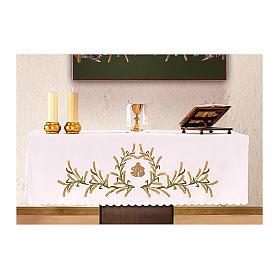 Tovaglia per altare 165x300 cm spighe di grano verdi e dorate s1