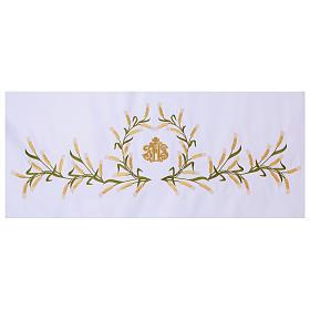 Tovaglia per altare 165x300 cm spighe di grano verdi e dorate s2