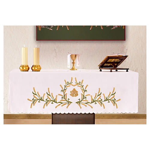 Tovaglia per altare 165x300 cm spighe di grano verdi e dorate 1