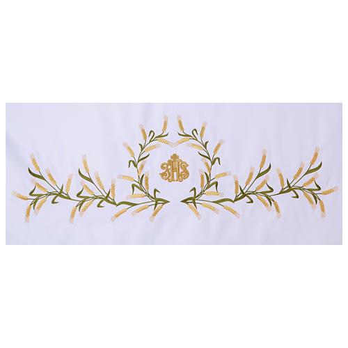Tovaglia per altare 165x300 cm spighe di grano verdi e dorate 2
