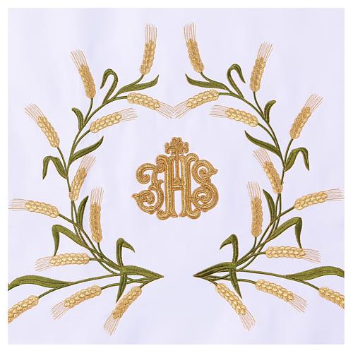 Tovaglia per altare 165x300 cm spighe di grano verdi e dorate 3