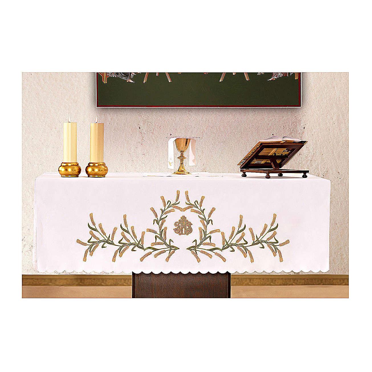 Altar Cloth 165x300cm Ears of Wheat, green & gold 4