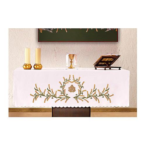 Altar Cloth 165x300cm Ears of Wheat, green & gold 1