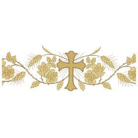 Tovaglia per altare 165x300 cm finiture ricami dorati fiori e croce centrale s2