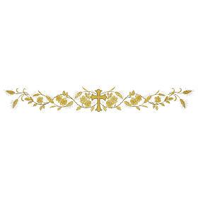 Tovaglia per altare 165x300 cm finiture ricami dorati fiori e croce centrale s3