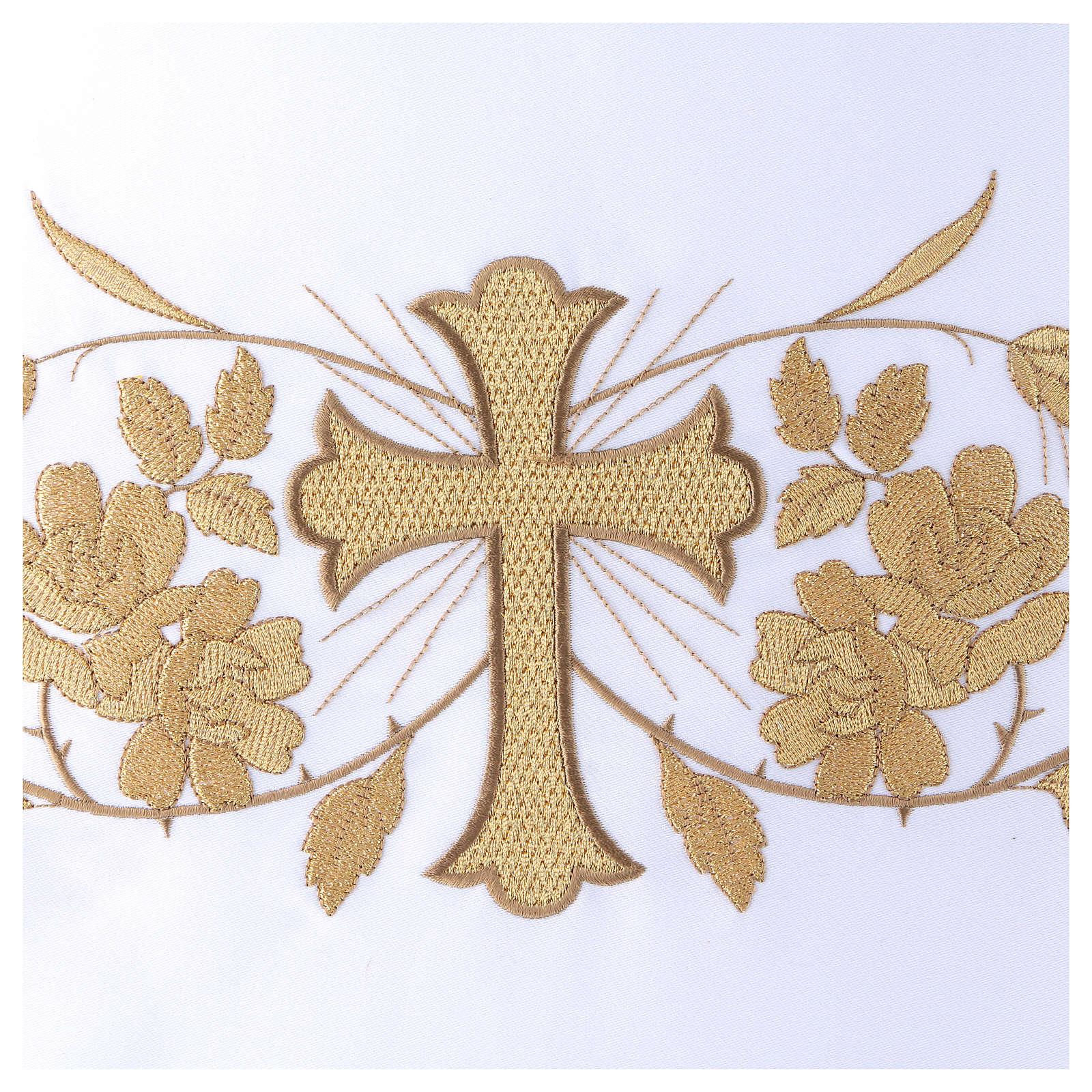 Toalha de altar 165x300 cm bordados dourados, flores e cruz central 4