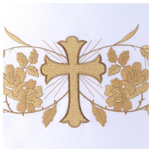 Toalha de altar 165x300 cm bordados dourados, flores e cruz central 2