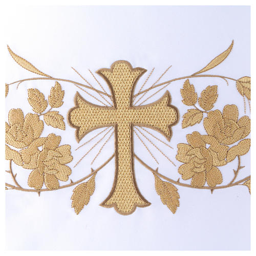 Altar Frontal 165x300 cm with golden finish and embroidery and central cross 2