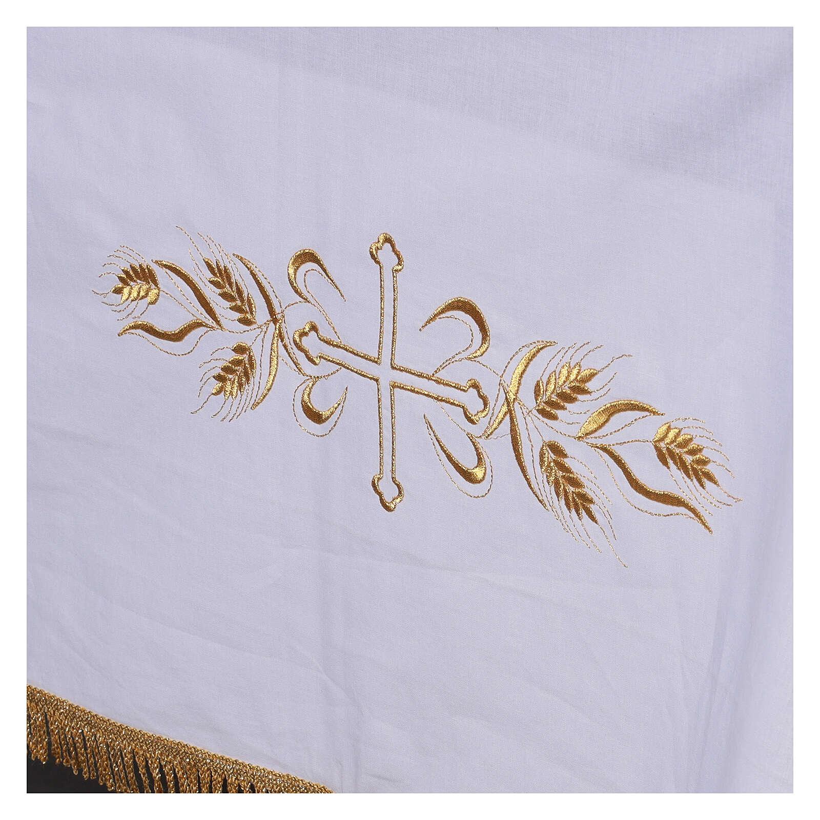 Toalha de altar 100% algodão 250x150 cm com trigo e cruzes dourados 4