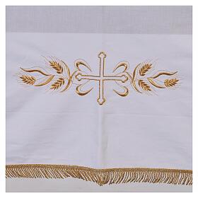 Toalha de altar 100% algodão 250x150 cm com trigo e cruzes dourados s2