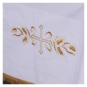 Toalha de altar 100% algodão 250x150 cm com trigo e cruzes dourados s4