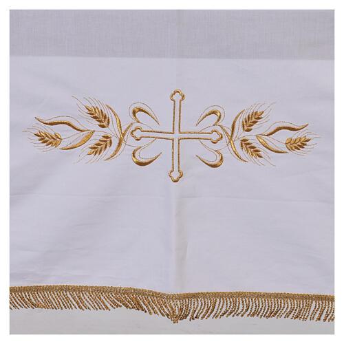 Toalha de altar 100% algodão 250x150 cm com trigo e cruzes dourados 2