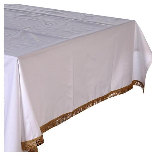 Toalha de altar 100% algodão 250x150 cm com trigo e cruzes dourados 3