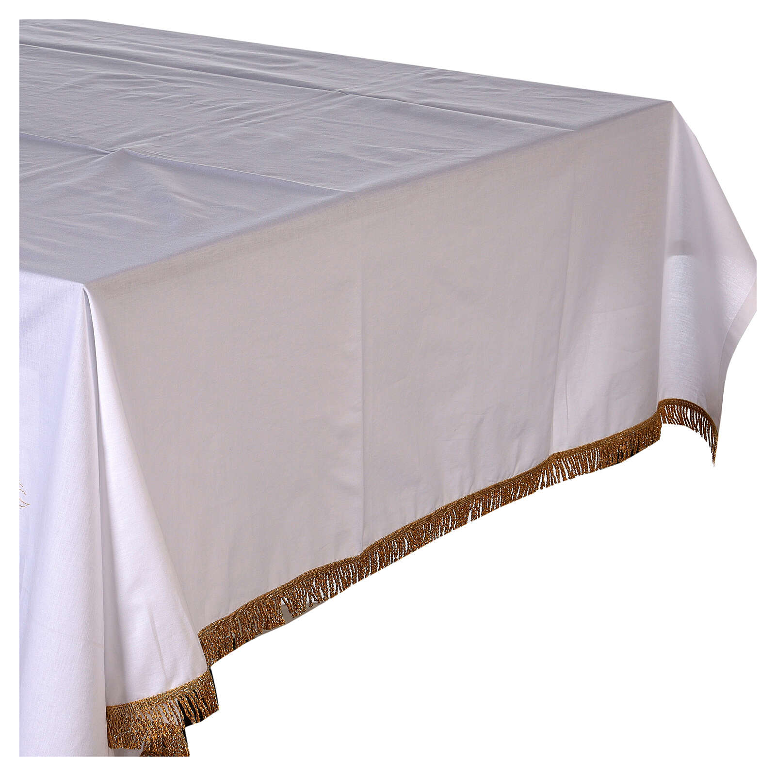Altar cloth 100% cotton 250 x 150 cm with wheat and golden crosses 4