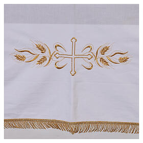 Altar cloth 100% cotton 250 x 150 cm with wheat and golden crosses s2