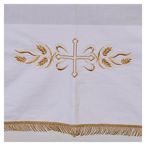 Altar cloth 100% cotton 250 x 150 cm with wheat and golden crosses 2