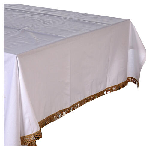 Altar cloth 100% cotton 250 x 150 cm with wheat and golden crosses 3
