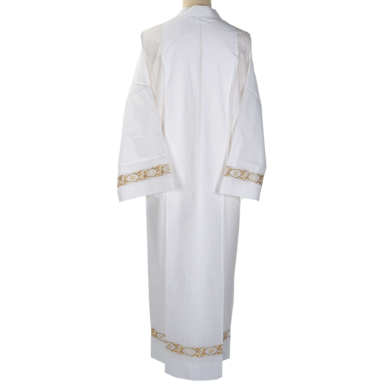 Camice bianco cotone decoro IHS 4