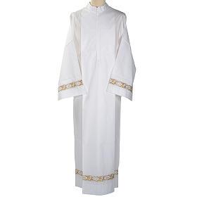Camice bianco cotone decoro IHS s1
