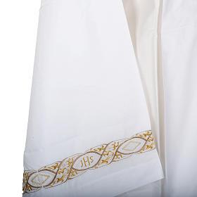 Camice bianco cotone decoro IHS s4