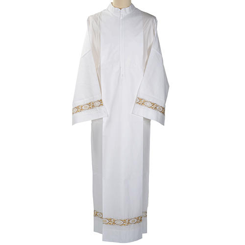 Camice bianco cotone decoro IHS 1