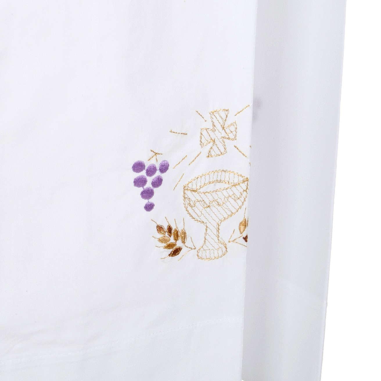 Camice bianco cotone calice uva spighe 4