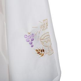 Camice bianco cotone calice uva spighe s3