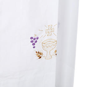 Camice bianco cotone calice uva spighe s5