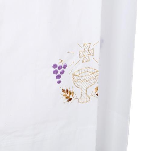 Camice bianco cotone calice uva spighe 5