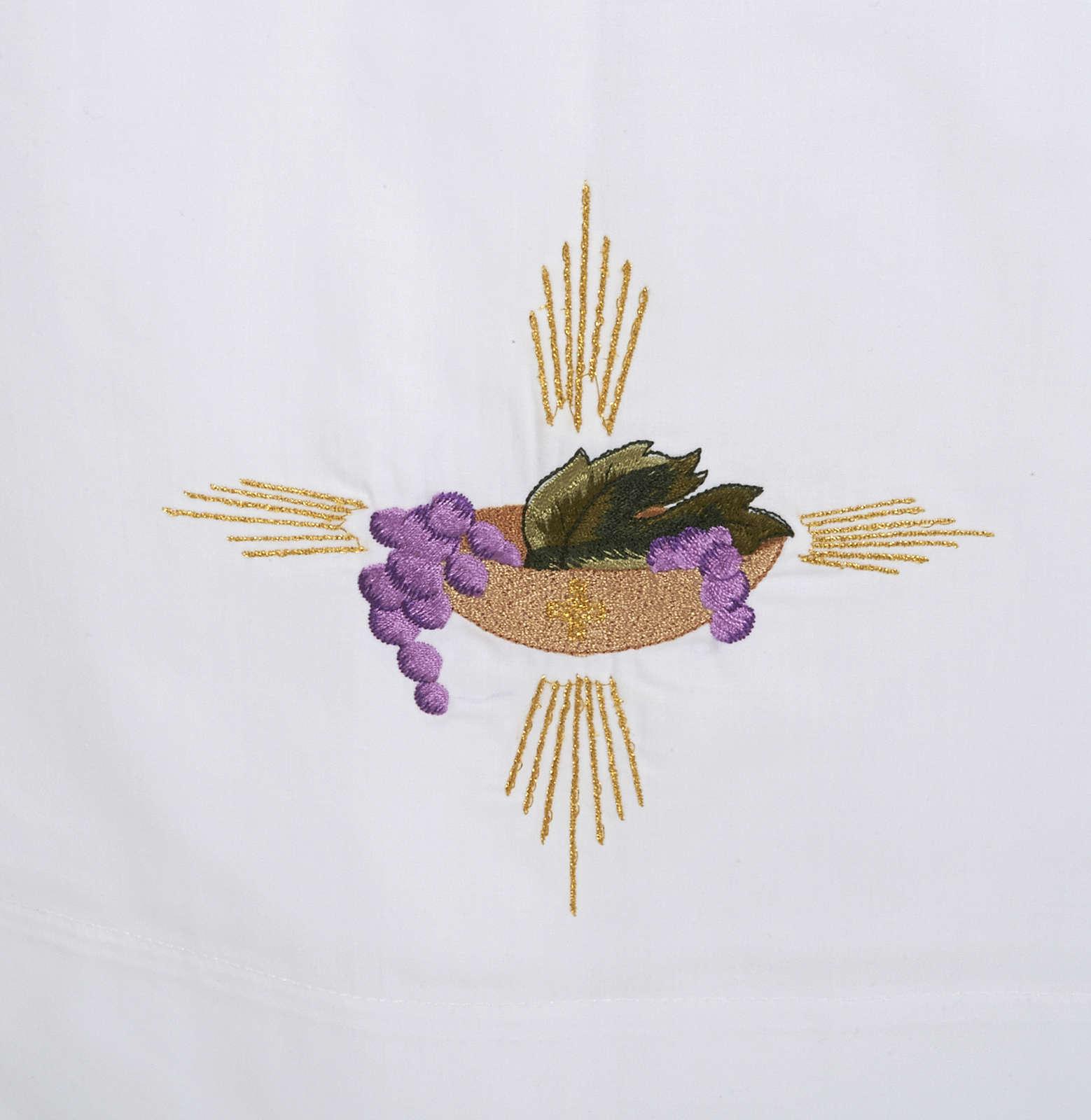 Camice bianco cotone patena uva spighe 4