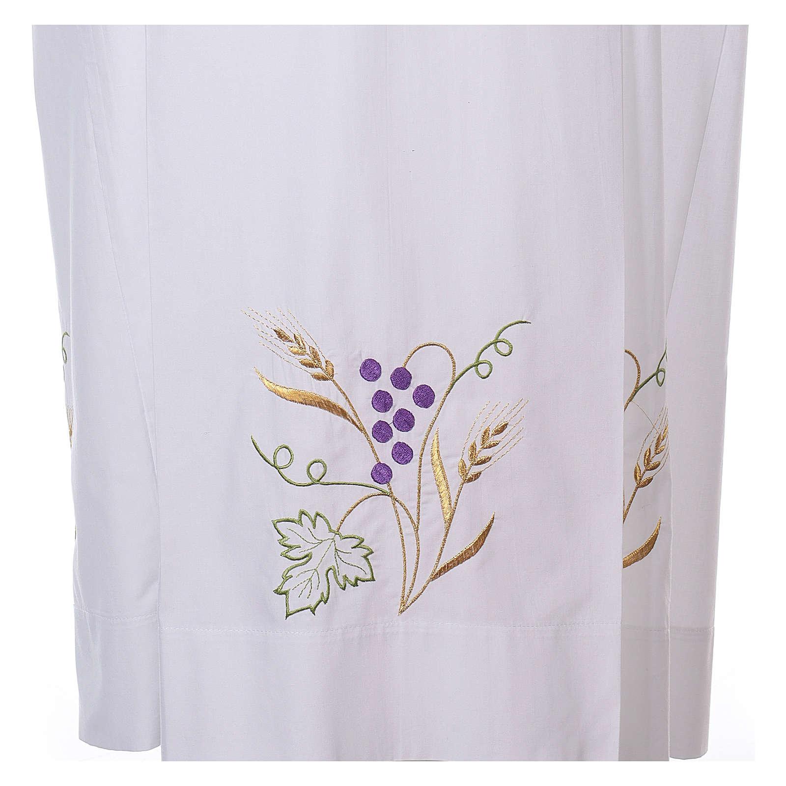 Camice bianco cotone spiga uva 4