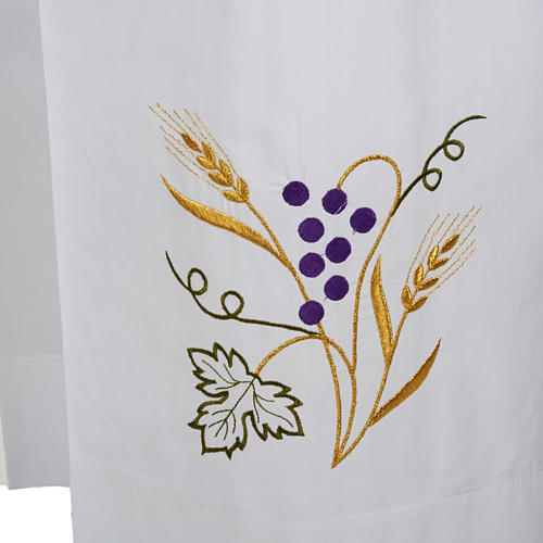 Camice bianco cotone spiga uva 2