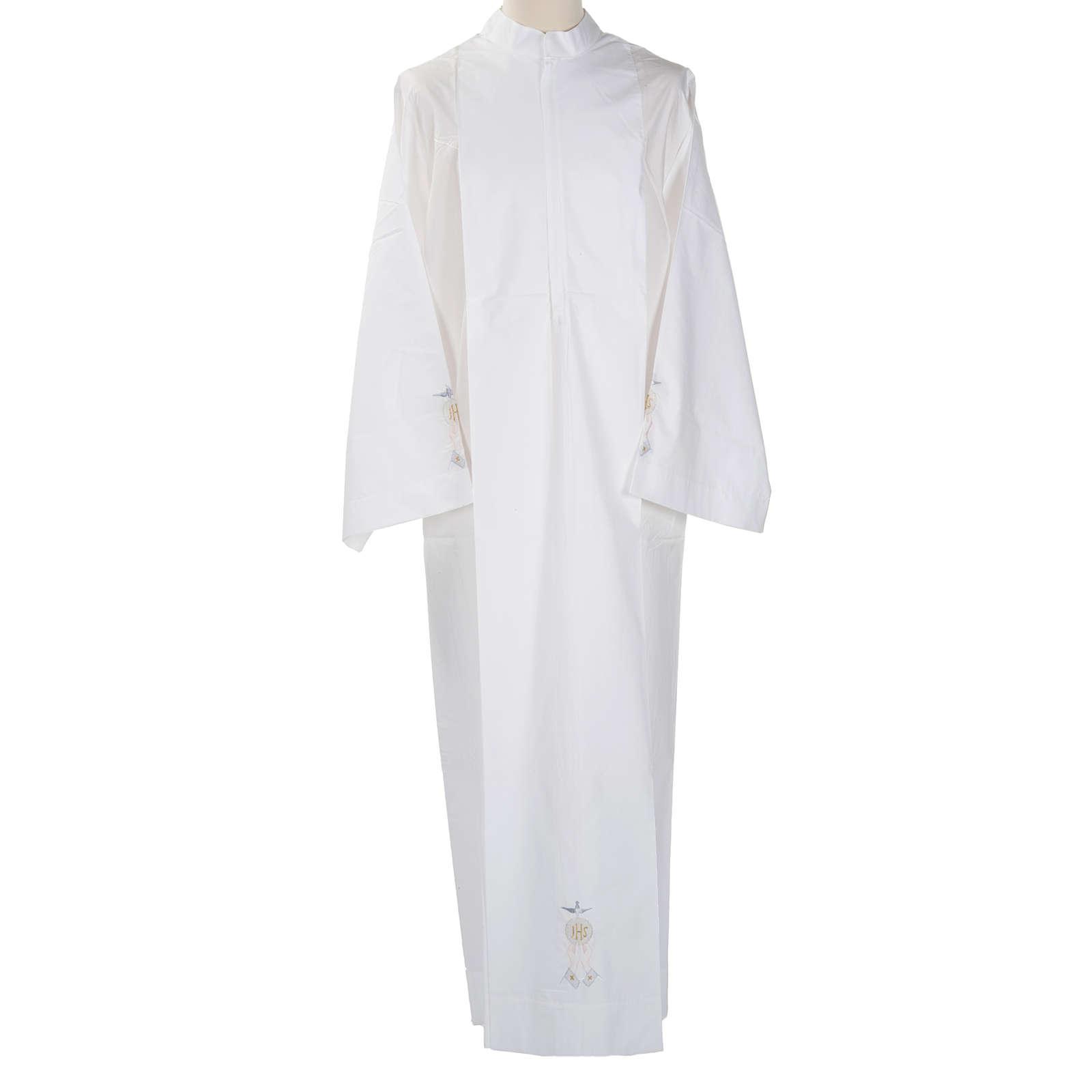Camice bianco cotone ostia IHS Spirito Santo 4