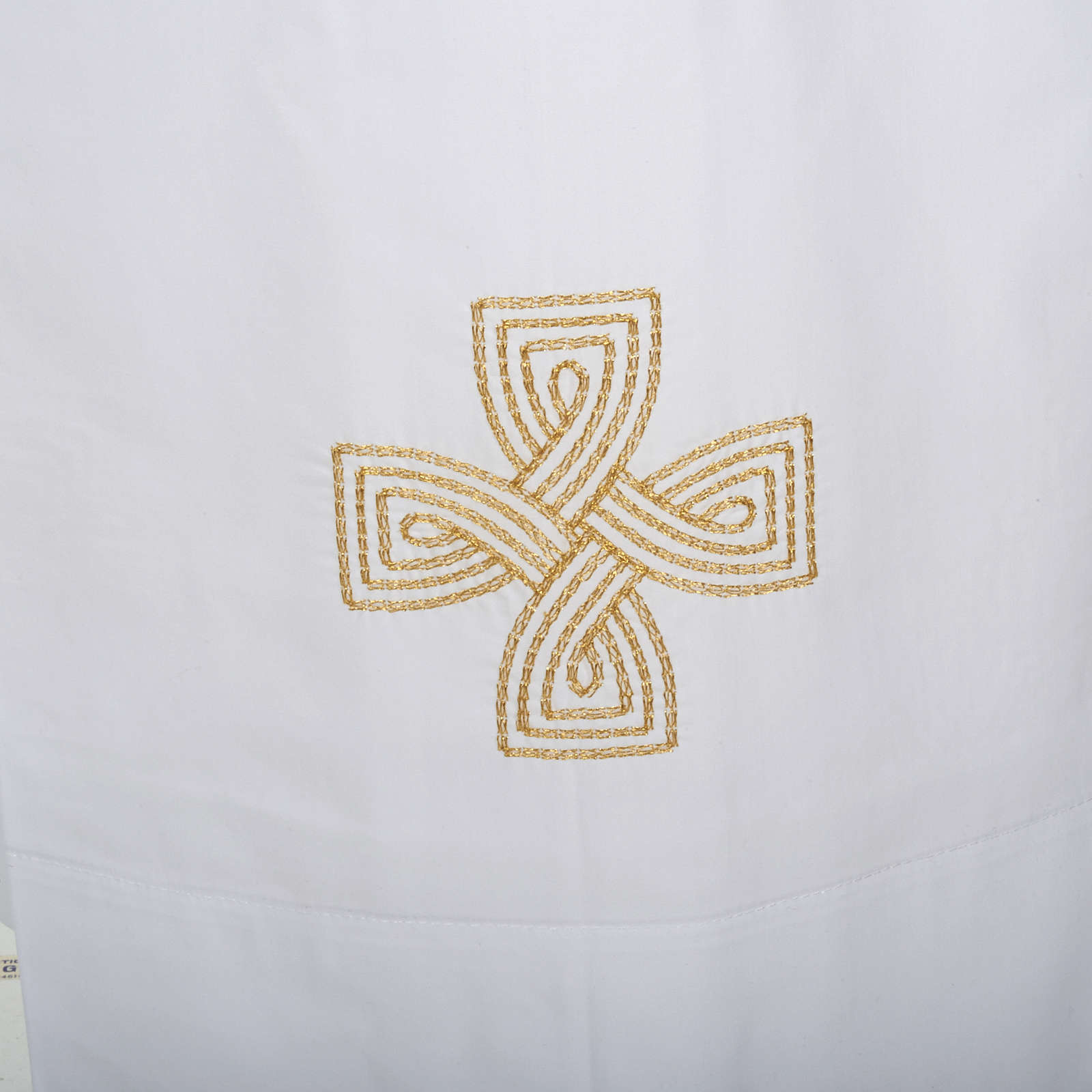 White alb cotton gold cross 4
