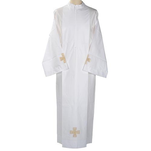 White alb cotton gold cross 1