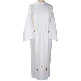 Alba blanca en algodón cruces decoradas s1