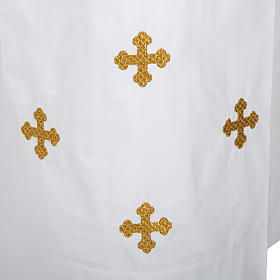 Alba blanca en algodón cruces decoradas s2