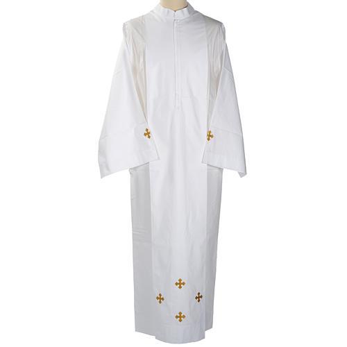 Alba blanca en algodón cruces decoradas 1