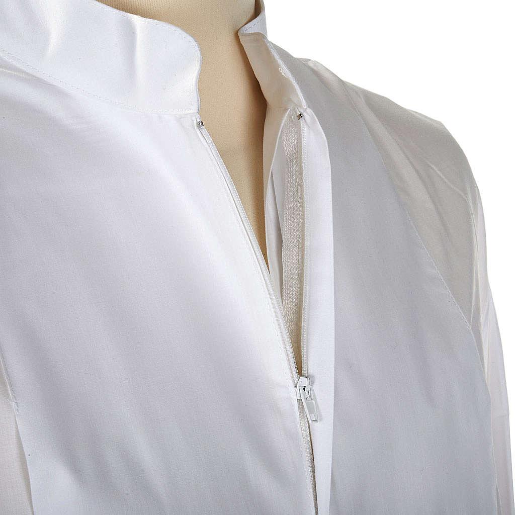 Alba blanca en algodón con decoraciones blancas 4