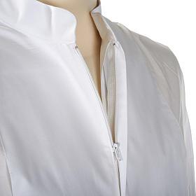 Alba blanca en algodón con decoraciones blancas s5