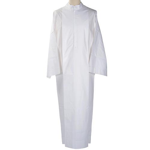 Alba blanca en algodón con decoraciones blancas 1