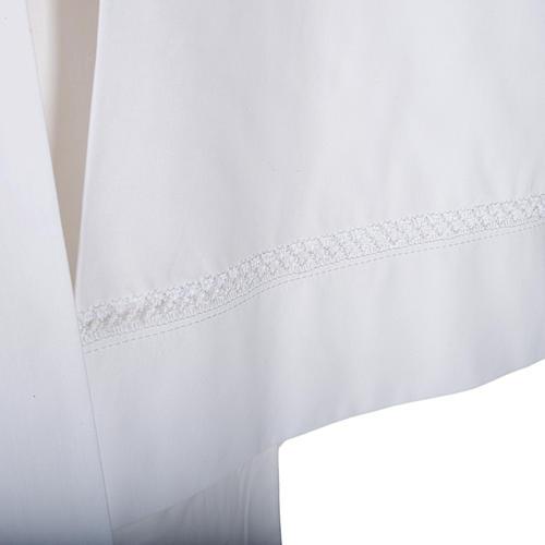 Alba blanca en algodón con decoraciones blancas 2