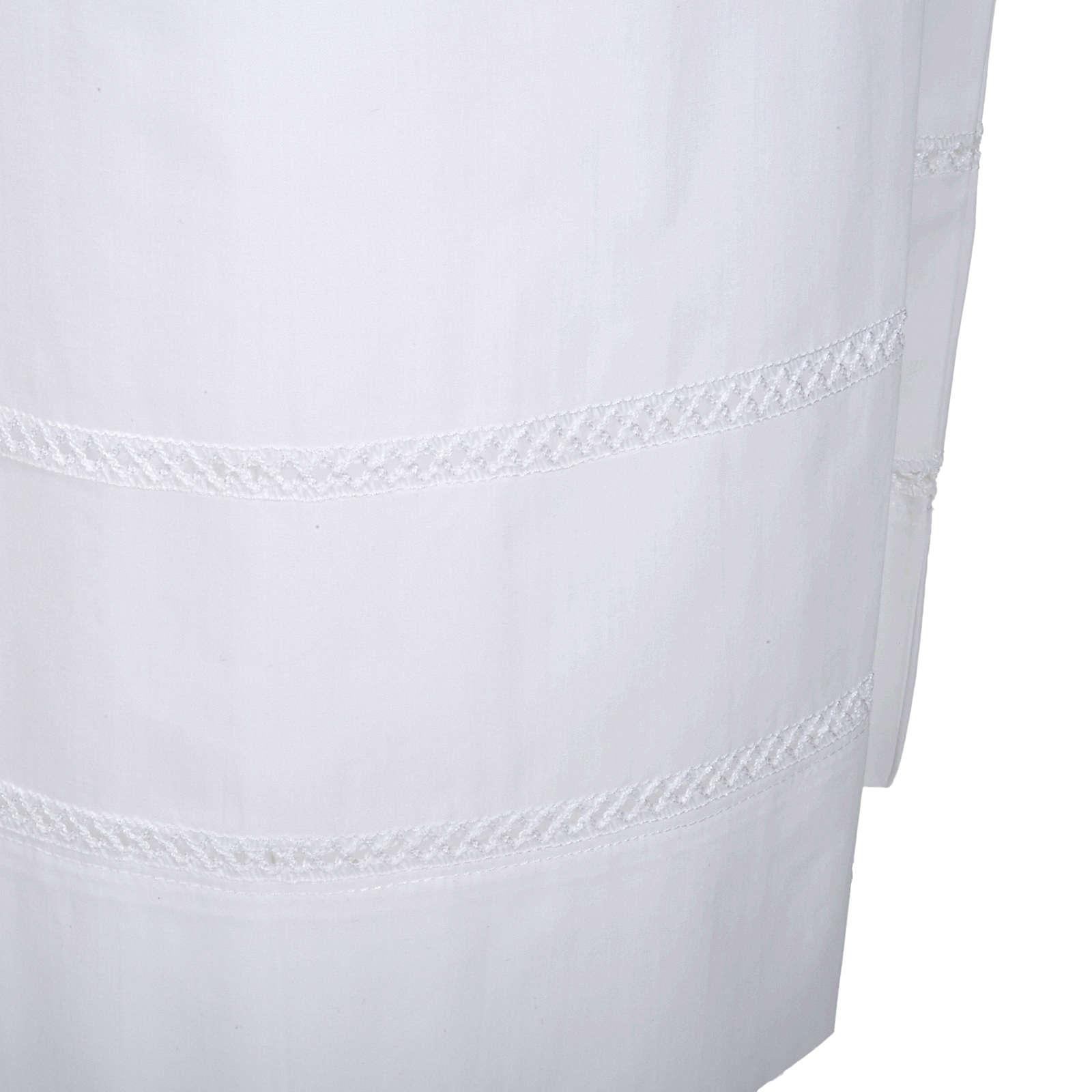 Camice bianco cotone decori bianchi 4